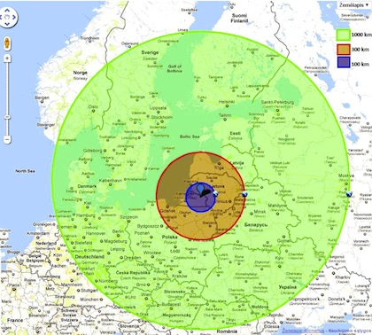 Zones of nuclear endangerment by the Belarus nuclear power plant